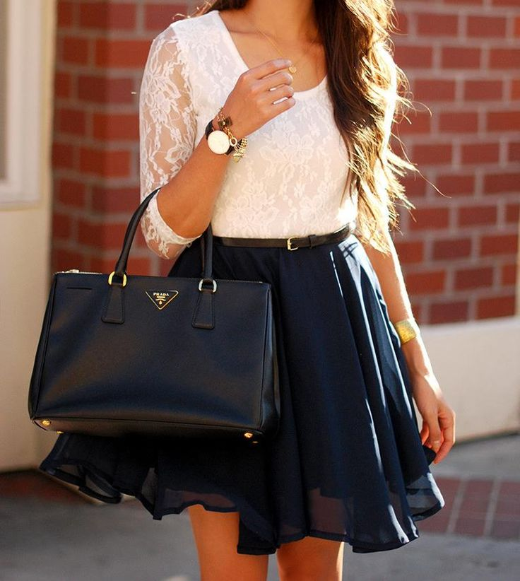 floral lace top and flared skirt. #feminine #fashion #zappos
