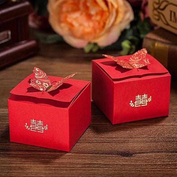 Wedding Candy Boxes with Gold Foil Print / Butterfly & Double Happy Gift Boxes / Paper Favor Box / Treat Box (5pcs / Red) Party Supply GB161