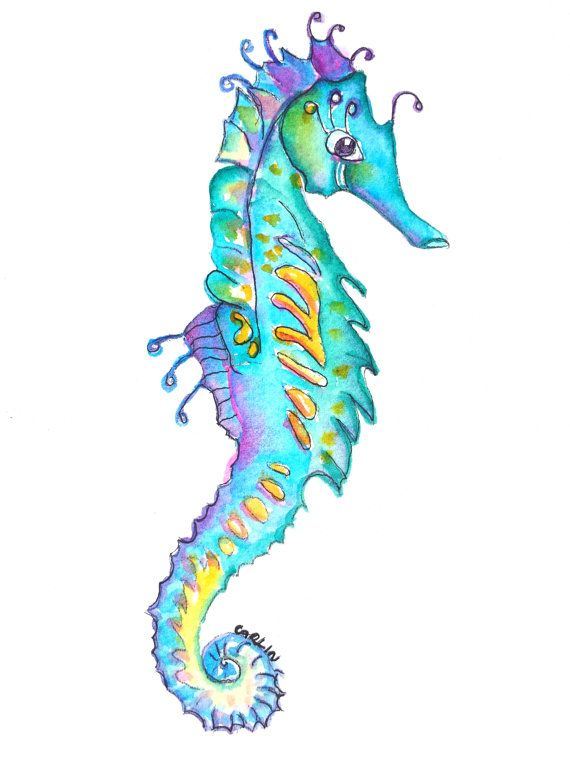 Original Watercolor Seahorse Painting by artist Carlin Blahnik. Colorful turquoise aqua blue seahorse portrait. Cute, whimsical, fun. Perfect for beach, nautical decor and animal, ocean theme children's rooms and nursery.