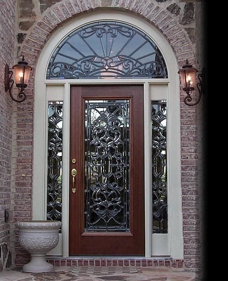 exterior doors with glass | Super Glass Designs - Leaded Glass Entry Doors and Bath Windows