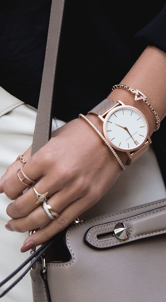 Love the Rose gold look on a watch and thin bracelets!
