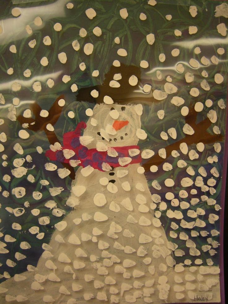 1st grade art: Dream Snow by Eric Carle ... paint snowflakes onto transparencies to go over snowmen!