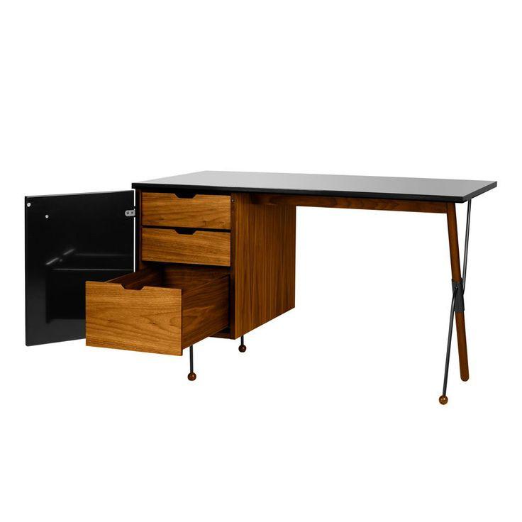 Grossman Skrivbord, Valnöt/Svart, Gubi