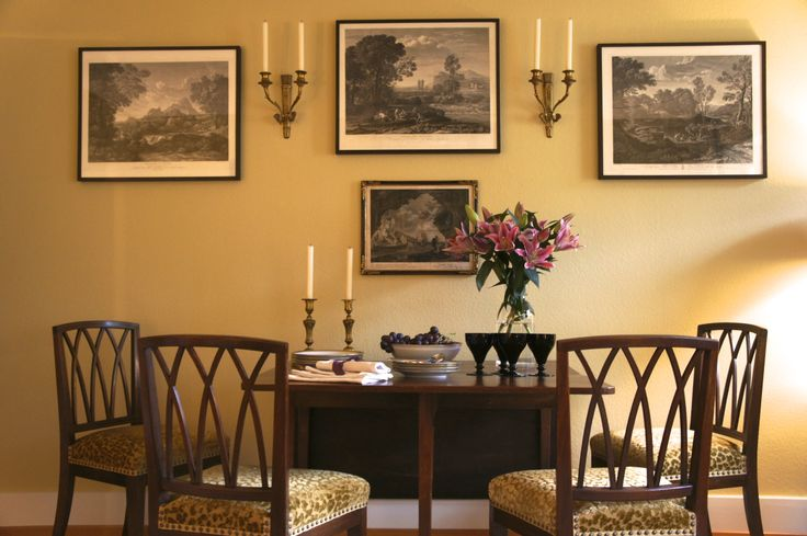 """Fine mahogany furniture offset by a warm yellow background, """"Hay"""" by Farrow  Ball"""