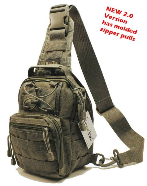 COMPACT * RUGGED * VERSATILE This small 'Goes Anywhere' Sling Pack is Perfect Where larger packs are Too Big, Too Bulky, Too Heavy. The handy 3-Way Design (Shoulder, Chest or Back Sling, or Hand Carry