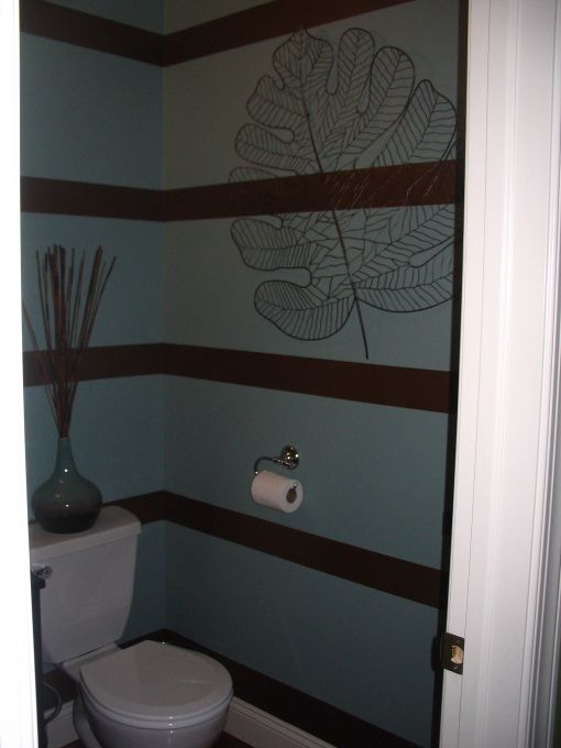 Delightful Bathroom Horizontal Paint Stripe Ideas | Funky Stripes, Brown And Blue  Horizontal Stripes Were Painted