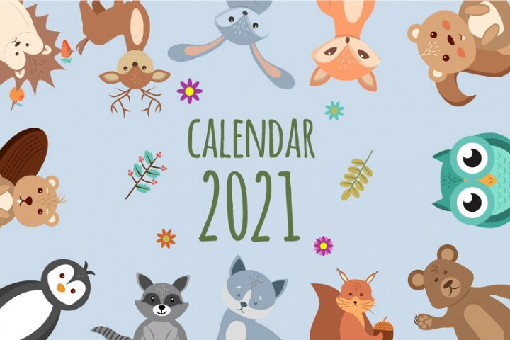 Funny And Cute Animals Beautiful Children S Calendar 2021 538918 Illustrations Design Bundles In 2020 Cute Animals Beautiful Children Animals Beautiful