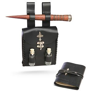 Vampire Hunter Kit at thinkgeek.com leather belt pouch with stake, bottles, and journal.  Could be taken from a vampire kit to wizarding by switching out the stake for a wand and adding some glitter and food coloring water to the bottles?  Was looking like something like this but wasn't finding anything quite right. Wish it came in brown but the black is more traditional for the vampire side of things.  Got to love Think Geek!
