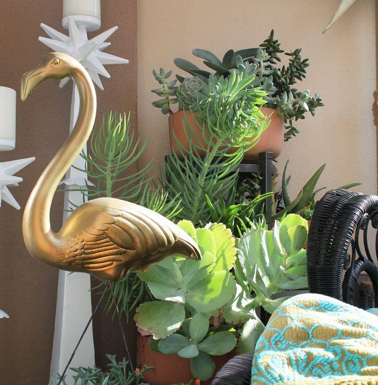 small patio succulent garden...and an amazing golden flamingo   via bungalow m