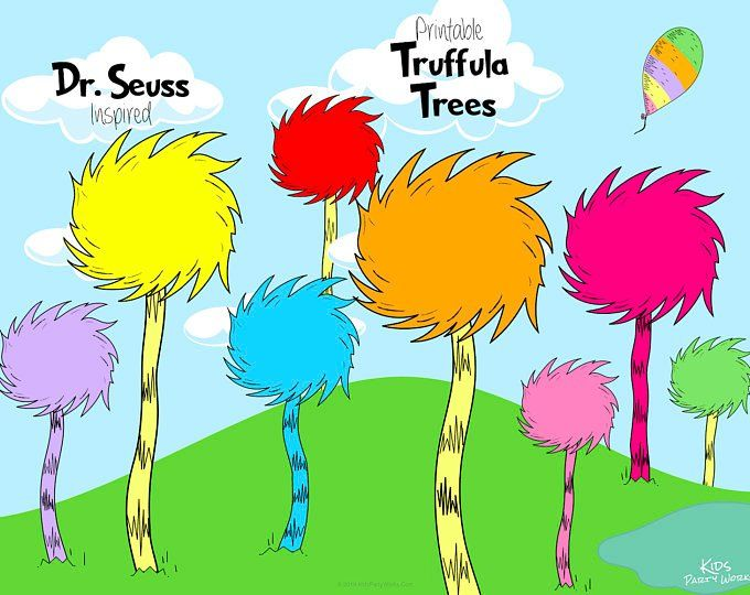The Lorax Truffula Trees Printable 8 Fun Colors For Your Next Birthday Party Or Baby Shower Byl Kidspartywork Lorax Birthday Kids Party Printables Seuss Party