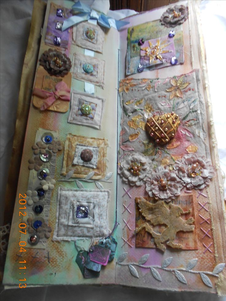 Stitched collage? Book? Quilt? inside the medieval book. Look closely. Amazing!