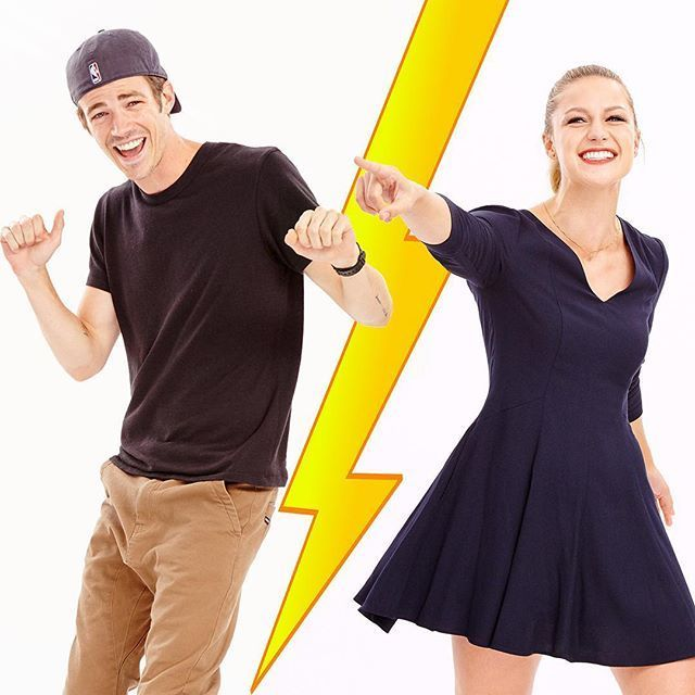 Grant Guston (Flash) and Melissa Benoist (Supergirl)