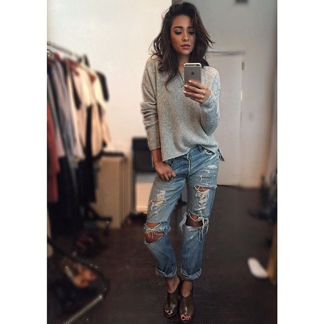 Love Shay Mitchell's style! This looks super comfy for a movie date night.