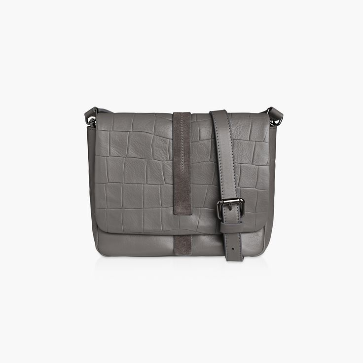 IVY - GREY, FLAT CROC/CALF with a Madison adjustable strap.