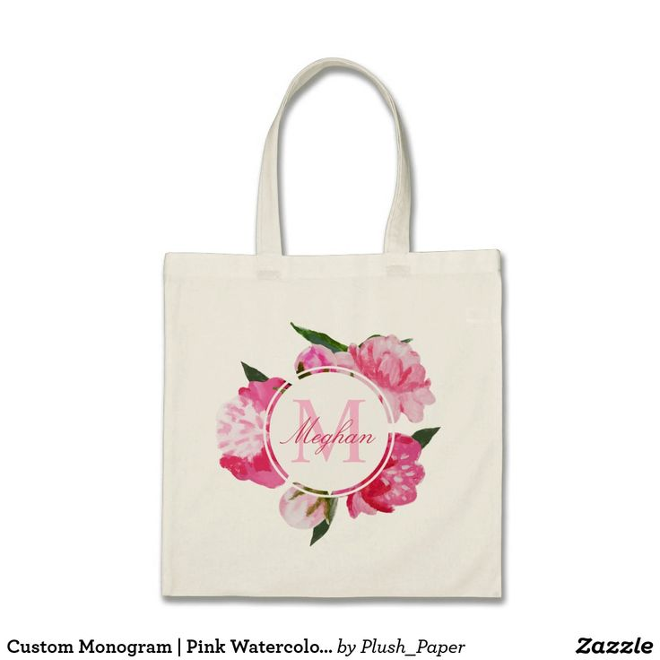 Custom Monogram | Pink Watercolor Flowers Tote Bag Elegant wedding bridesmaid / bridal party totes feature vibrant peony watercolor flowers in shades of pink, fuchsia, and green. Personalize the custom text with a monogram initial and name in script.