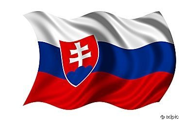 slovakia flag. The Slovakia flag was officially adopted on September 1, 1992. Red, white and blue are traditional Pan-Slavic colors. The centered Slovakian arms features a dominant white cross atop a blue symbolic reference to the country's mountains.