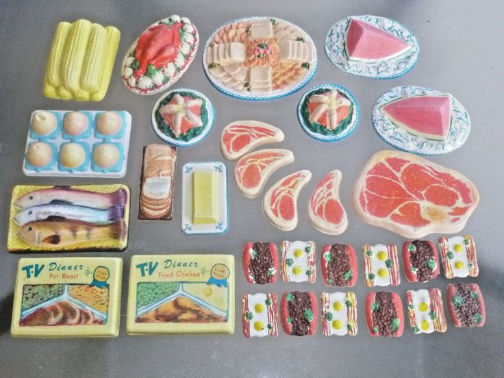 Large lot of old vintage Plastic Toy Food, thin 1950s - 1960s midcentury toy set | eBay