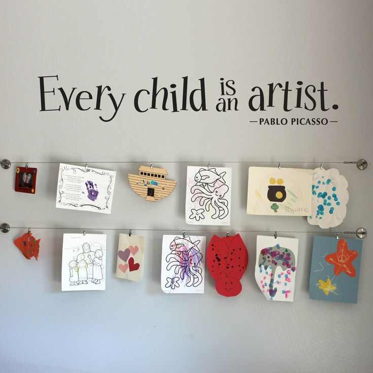Every Child is an Artist Wall Decal Large - Children Artwork Display - Picasso Quote.