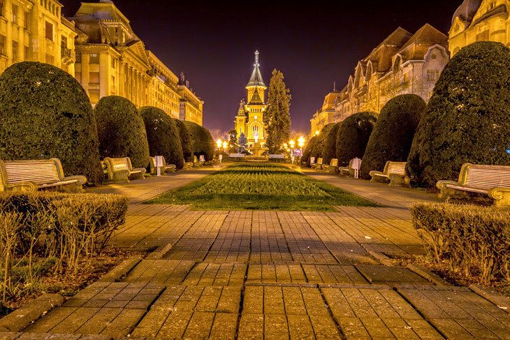 The Victory square or Timisoara city center