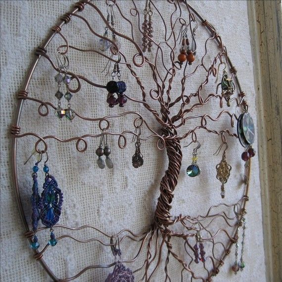 Earring Tree Copper Tree of life wall hanging by PurpleBusStudio