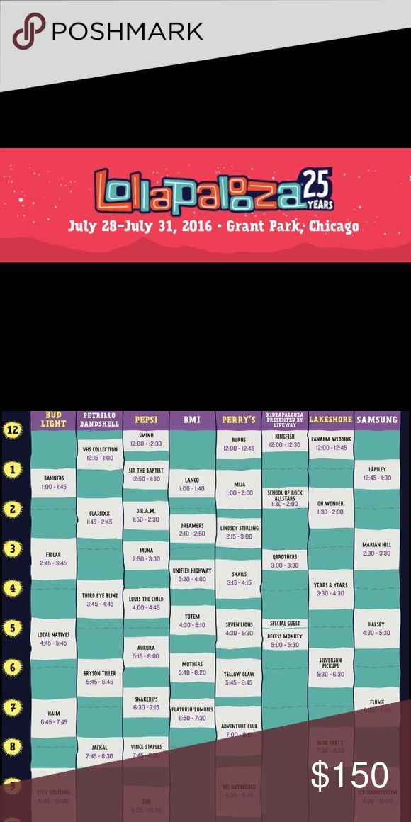 LOLLAPALOOZA TICKET 2016 For Sunday, July 31 ONLY! Schedule pictured. Goes to…