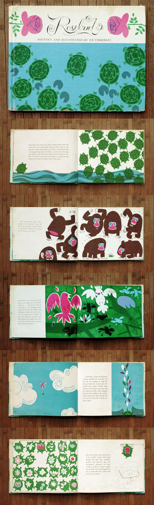 [ #bookdesign + #illustration ]  rosebud by ed emberley.  use of images on both pages.
