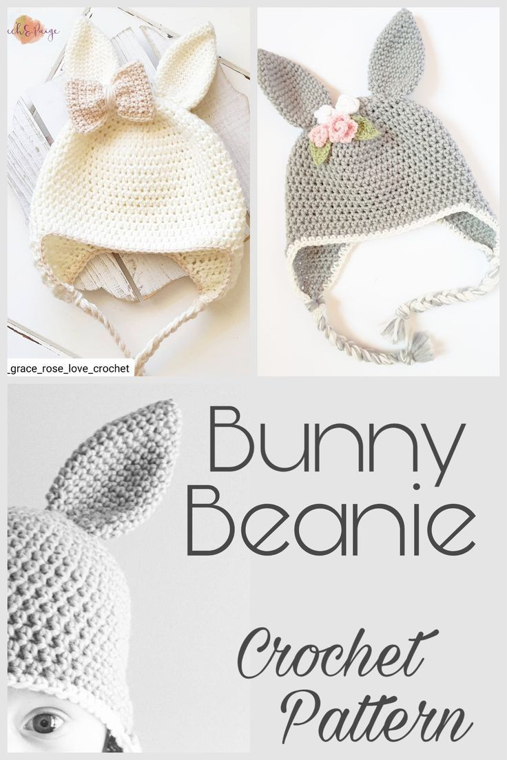 Pattern Only Toddler Child Bunny Beanie Beanie Crochet Pattern Floral Bunny Beanie Bunny Hat Animal Beanie Rabbit Ears Rabbit Beanie Crochet Baby Hats Crochet Crochet Baby Patterns