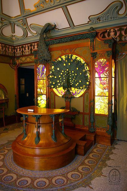 Georges Fouquet shop interior designed by Alphonse Mucha. Museum Carnavalet in Paris. Photograph by Nouveau Voyages.