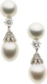 South sea pearls, diamond, white gold earrings