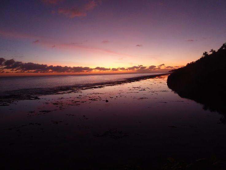 Beautiful sunset on Tamakautogo Beach in Niue