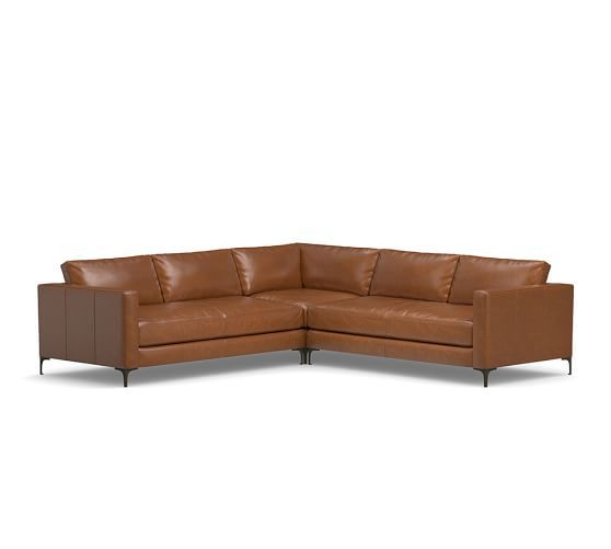 Jake Leather 3 Piece L Shaped Sectional | Pottery Barn