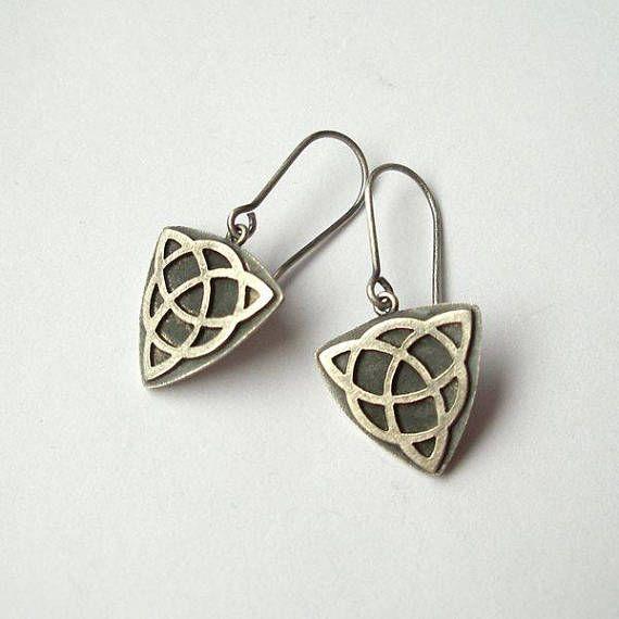 Triquetra Silver Dangle Earrings Silver Earrings Amulets