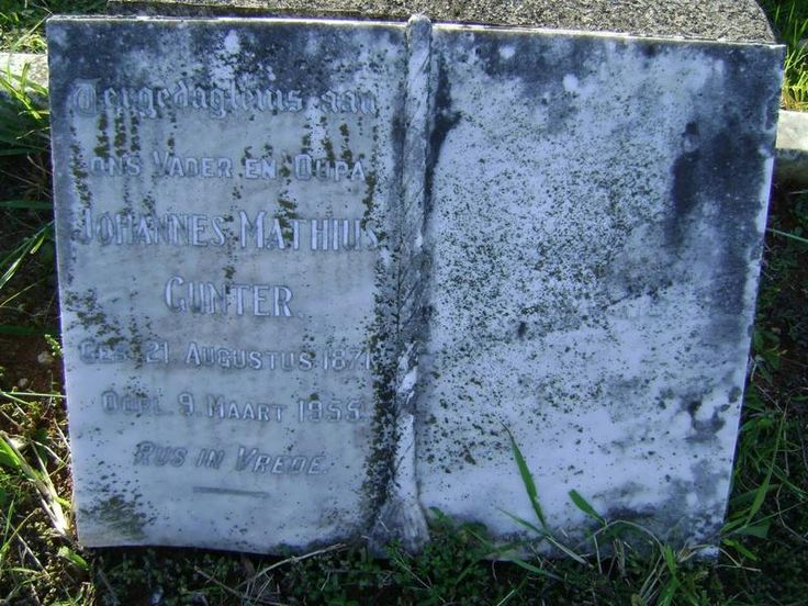 GUNTER Johannes Mathius 1871-1955  Kwazulu-Natal, DURBAN, Stellawood, Cemetery and Crematorium