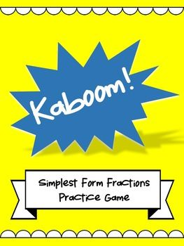 Simplest Form Fraction Kaboom Game - Perfect for Math Centers!!!