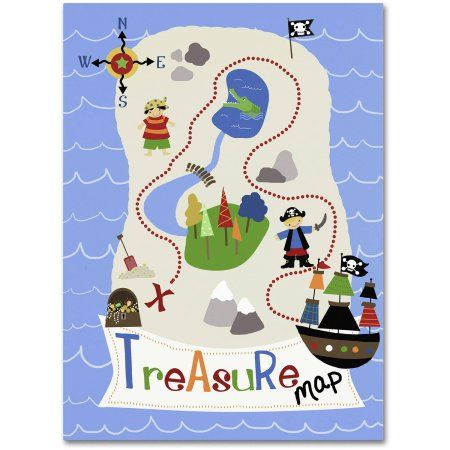 Trademark Fine Art Treasure Map Canvas Art by Jennifer Nilsson, Size: 35 x 47, Assorted