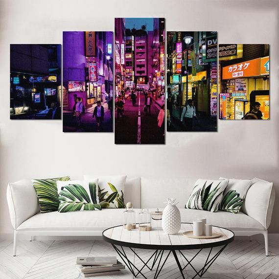 China Town Wall Art Colorful City Canvas Large Wall Art Art Etsy Etsy Wall Art Bedroom Wall Art Wall Art Living Room