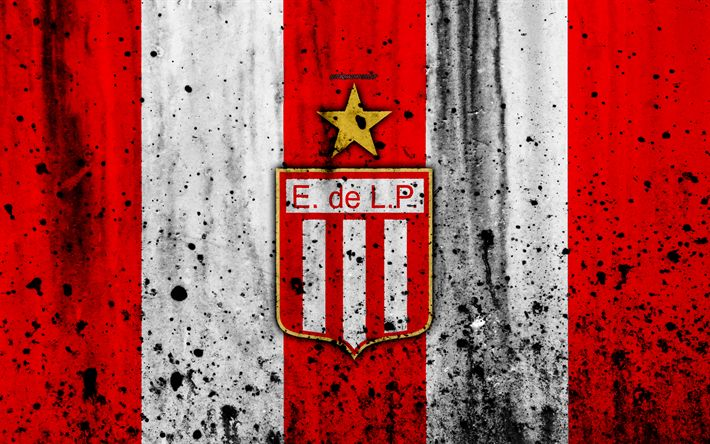 Download wallpapers 4k, FC Estudiantes, grunge, Superliga, soccer, Argentina, logo, Estudiantes, football club, stone texture, Estudiantes FC