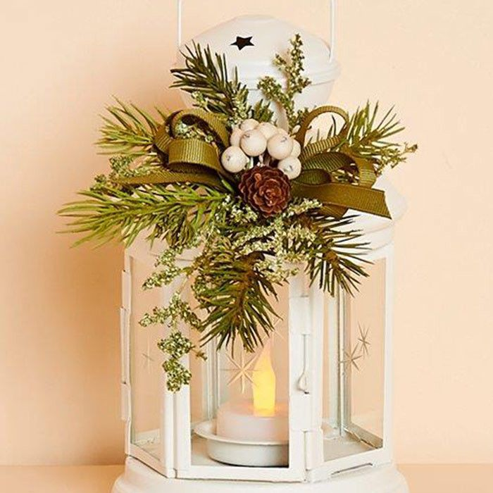 8 inch High White Metal Lantern with Removable Decor & Battery Tea Light