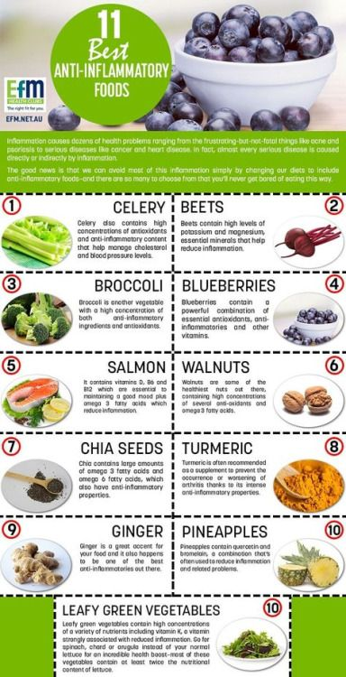 Anti-Inflammatory foods include Celery, beets, broccoli, blueberries, salmon, walnuts, chia seeds, turmeric, ginger, and pineapples