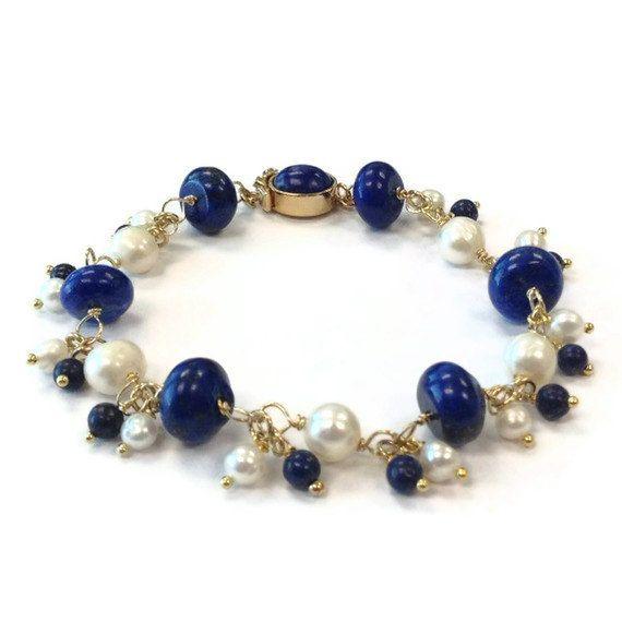 Navy Blue Bracelet Gold Jewelry Lapis Lazuli by jewelrybycarmal, $125.00
