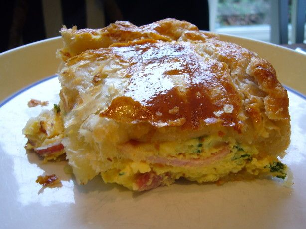 """Famous New Zealand Bacon and Egg pie. """"This is my mums, so the BEST pie ever! It is fantastic served with ketchup and in my opinion is probably better cold. Great for picnics."""""""