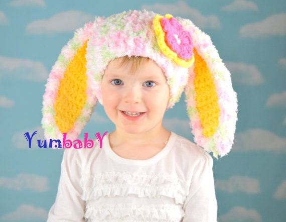 Easter Bunny Hat with Floppy Ears Flower Baby Girl hats by YumbabY #easter #hat #bunny #eastergifts