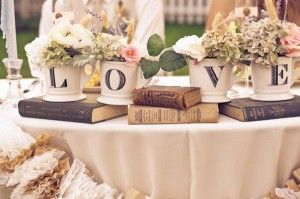Old books as reception decorations