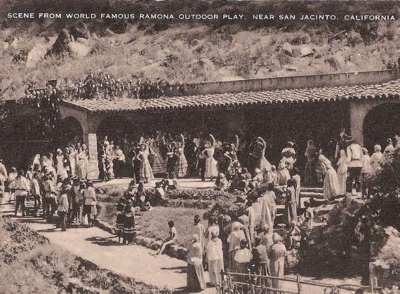 San Jacinto California World Famous Ramona Outdoor Play Vintage Postcard
