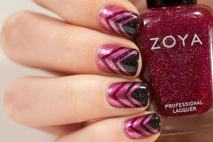 Pink Chevron Nail Art