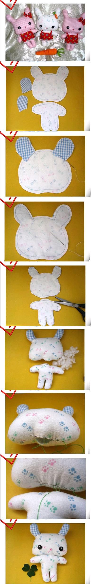 DIY Cute Fabric Bunny easter rabbit pictoral pattern to make cute kawaii bunny toy design