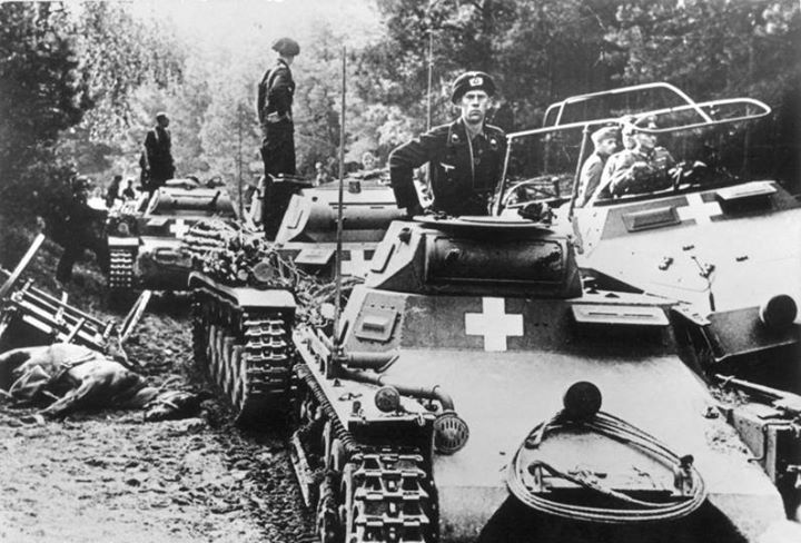 German tanks near the city of Bydgoszcz during the Invasion of Poland September 1939
