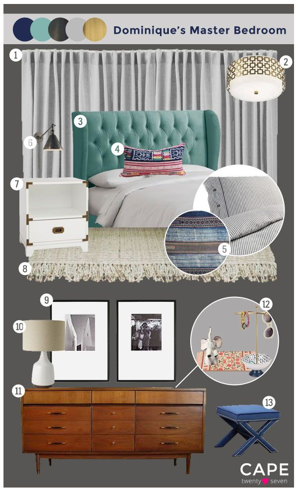 Cape 27 Custom Mood Boards: Dominique's Master Bedroom