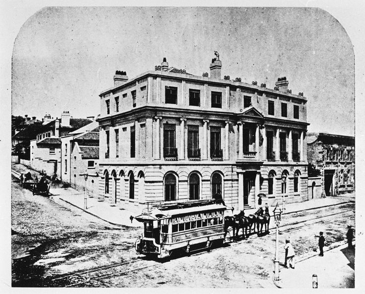 Horse-drawn tram outside the Union Bank on the corner of Hunter and Pitt Streets, Sydney, NSW, c1865