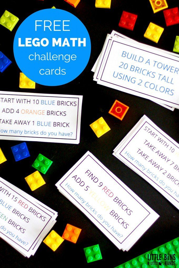LEGO Math Challenge Cards and LEGO Math Activity Busy Bag Kindergarten and Early Elementary Grades Math Center Time